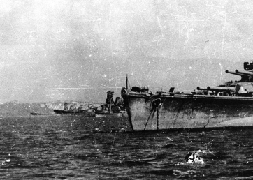 Photographed just prior to the Battle of Leyte Gulf. Ships are, from left to right Musashi, Yamato, a cruiser and Nagato.