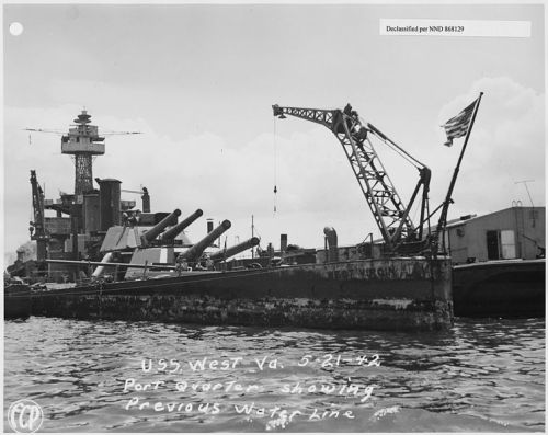 754px-USS_West_Virginia_5-21-42,_Port_quarter_showing_previous_water_line_(FCP)_-_NARA_-_296915