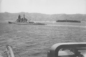 800px-Kirishima_and_Akagi_at_Tsukumowan_1939