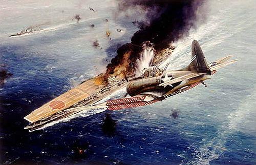 IJN_Akagi_World_War_II_Aircraft_Carrier_hit_by_Douglas_SBD_Dauntless_Dive_Bomber_at_Midway-1