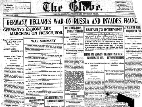 GM_Aug3_1914_Germany-Declares-war-on-Russia-invades-France