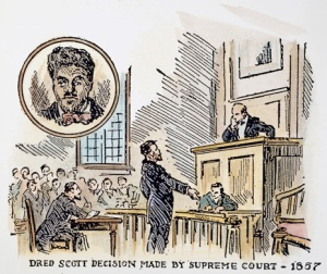 ROGER B. TANEY (1777-1864).  Roger Taney, Chief Justice of the U.S. Supreme Court, handing down his decision on the Dred Scott case, 1857. American illustration.