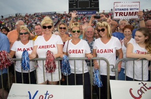 Aug. 21. 2015 Mobile, AL, Trump supporters at his campaign pep rally in Ladd Peebles Stadium. These women are all party of the Republican Party and plan to vote for Trump.  Over 20 thousand came to the Ladd-Peebles Stadium to attend Trumps campaign pep rally. 40,000 were expected to come.