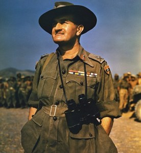 Field Marshal William Joseph Slim, 1st Viscount Slim, KG, GCB, GCMG, GCVO, GBE, DSO, MC (6 August 1891 - 14 December 1970).   Photo possibly taken in Burma where in March 1942 he was given command of 1st Burma Corps (or BurCorps) which was being attacked by the Japanese.  He was a British military commander and the 13th Governor-General of Australia. He fought in both World War I and World War II and was wounded in action three times during his career.  ©TopFoto